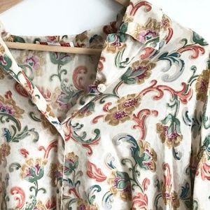 Vintage Silk Patterned Blouse Button Up